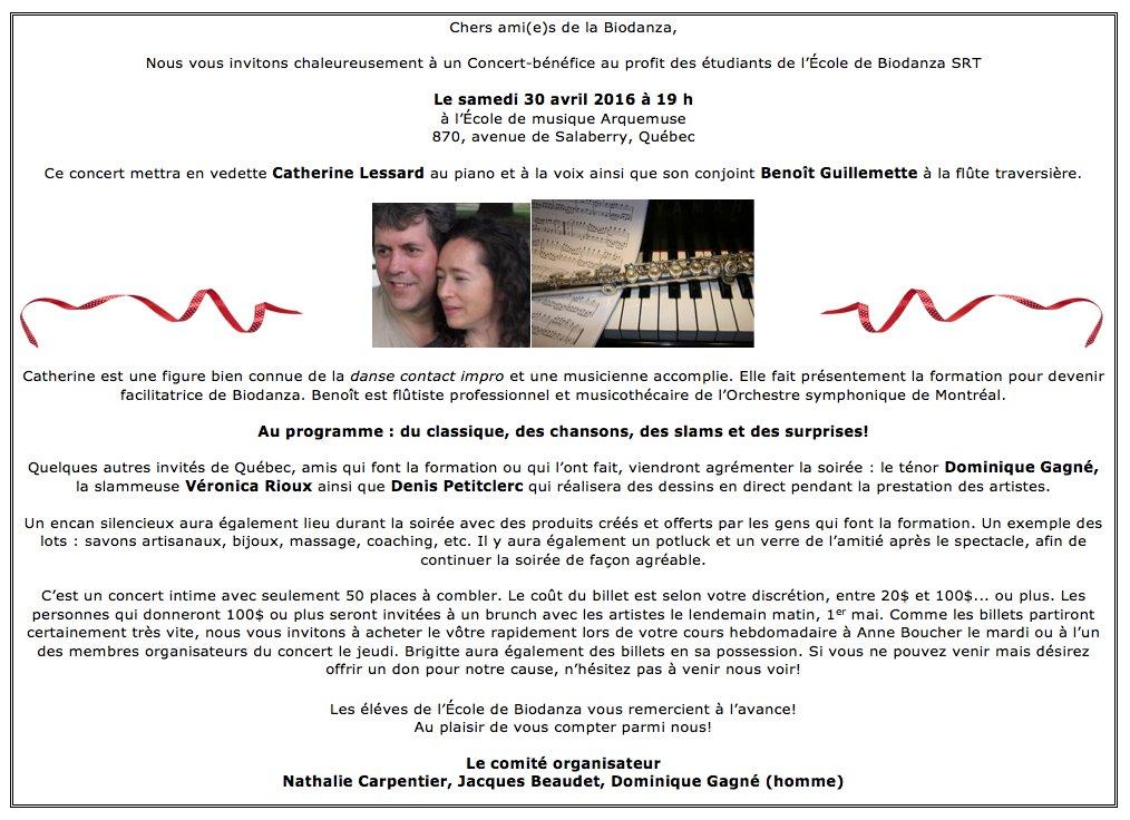 Concert bénéfice 30 avril 2016